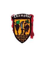 Wapppen der Partnerstadt Champhol in braun rot mit einer Sichel in der Mitte und Weintaubenam Stock daneben