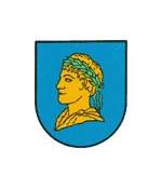 Wappen von Riegel in blau mit einem Heidenkopf in gelb