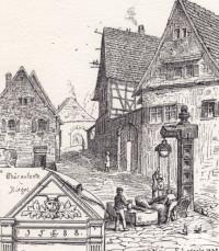 Eine Zeichnung des Galgenziehbrunnens von 1887.