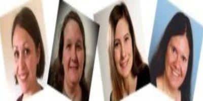 Vier erfreute Damen des Willkommen im Leben Teams